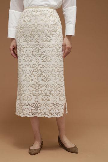 Unaca トロンプルイユサイドスリットロングスカート