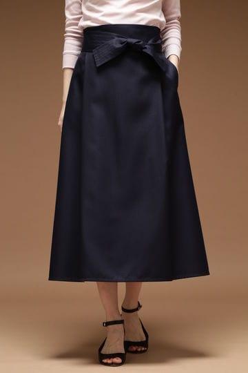 Unaca noir ウエストリボンツイルスカート