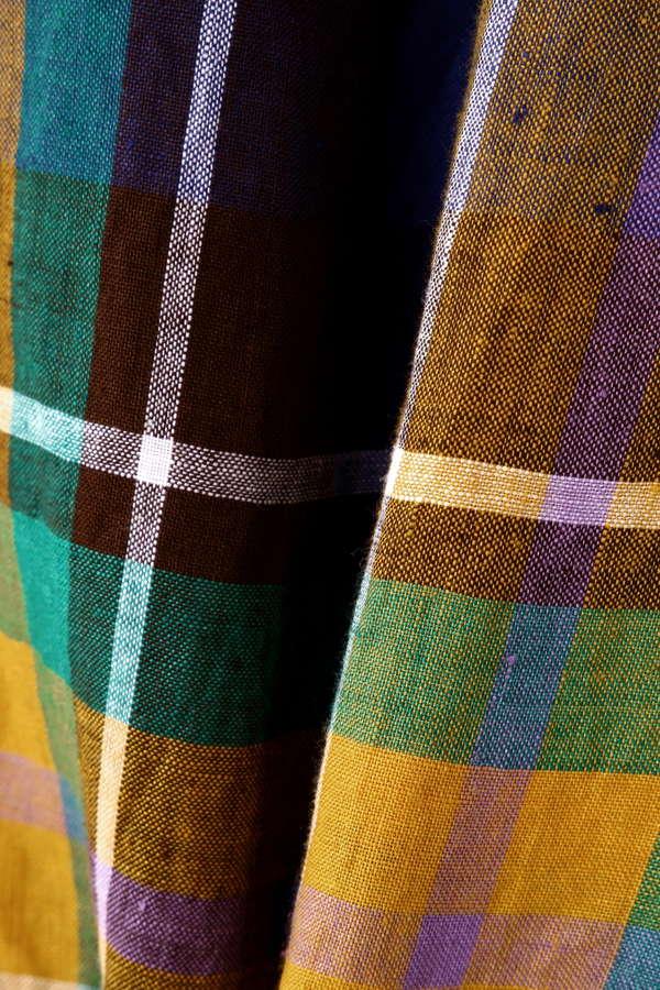 リネンチェックセミフレアスカート