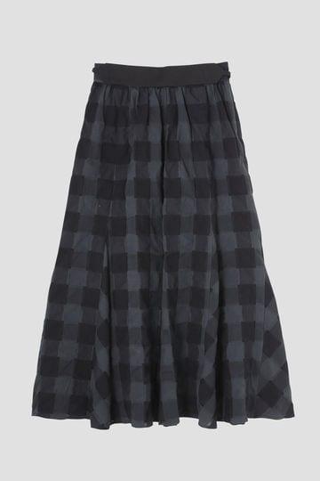 Fuhlen ブロックチェックフレアスカート