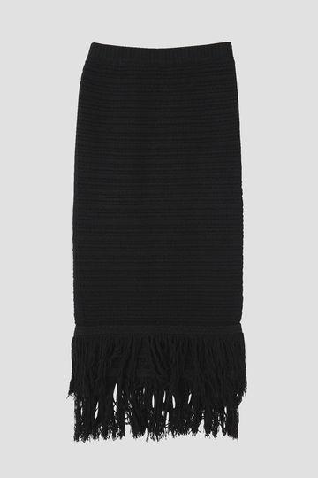 dunadix 柄編みニットフリンジスカート