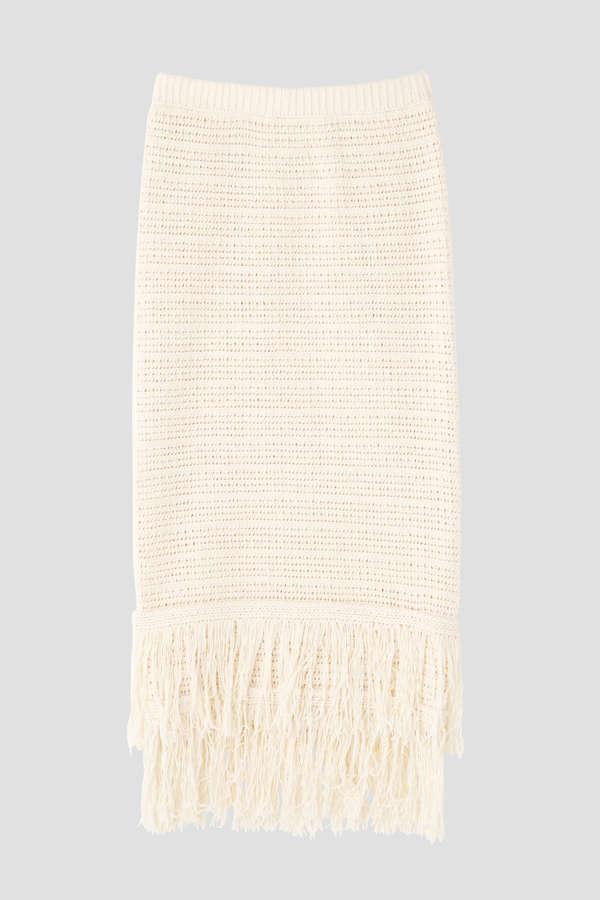 柄編みニットフリンジスカート