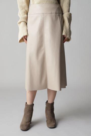 フェイクラムレザーAラインスカート