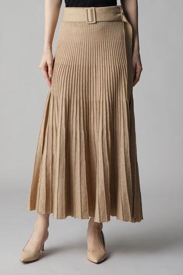 ベルト付きニットプリーツスカート