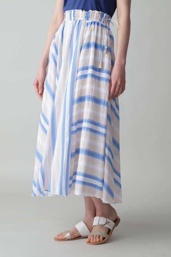 ne quittez pas / Voile Stripe Flare Skirt
