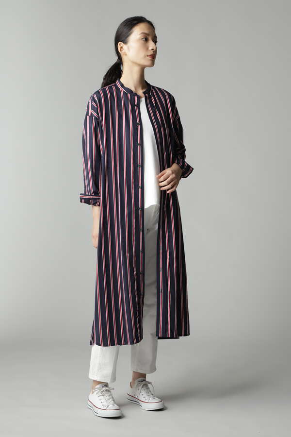 【WEB限定】TICCA ノーカラースクエアビッグロングシャツ