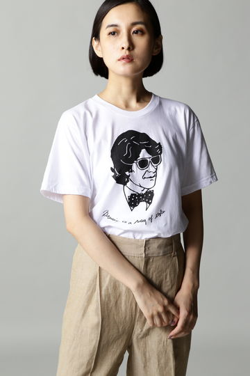Merge face printed Tシャツ