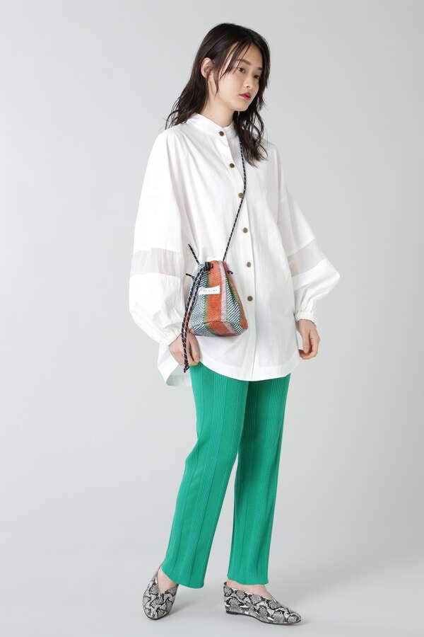 袖ボリュームバンドカラーシャツ