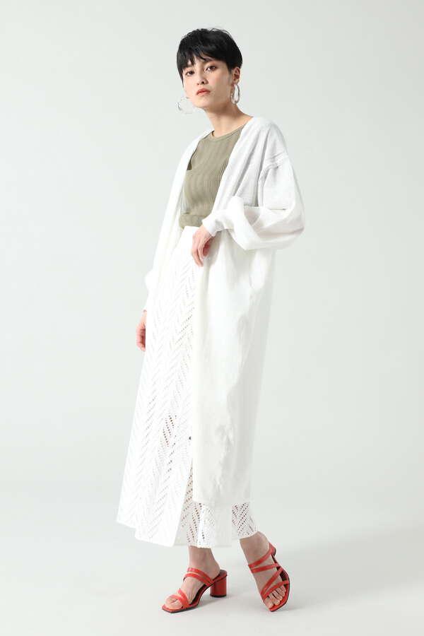 シアーニットロングカーディガン