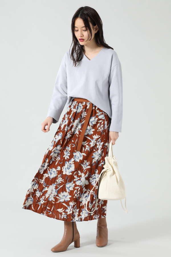 ベルトデザインプリーツスカート