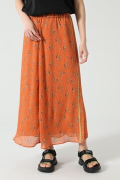 フラワープリントシースルースカート
