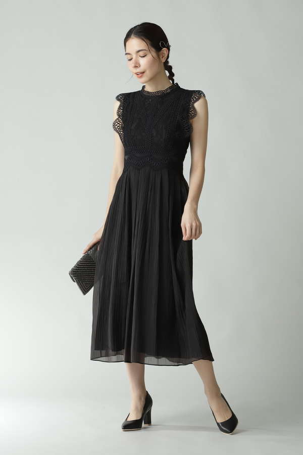 レース切り替えワンピースドレス