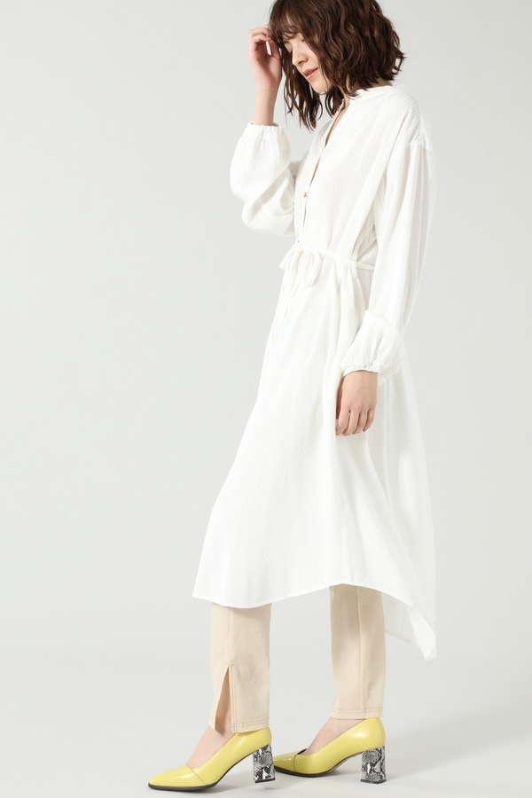 バンドカラーシャツワンピース