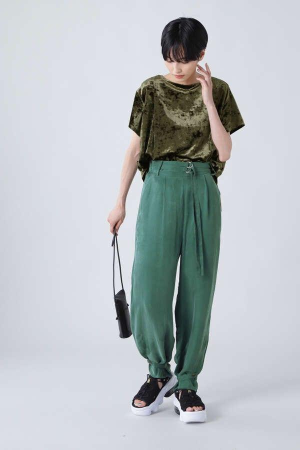 サイドスリットベロアTシャツ