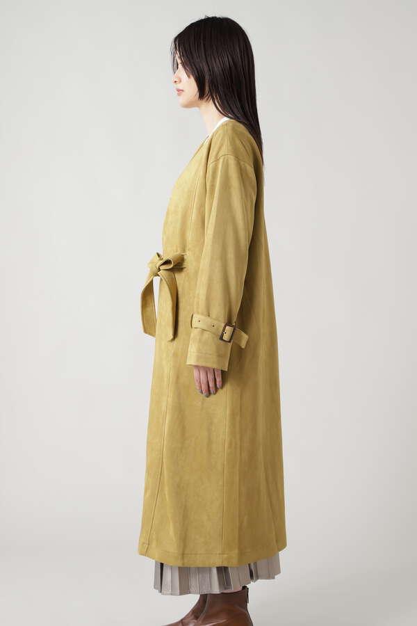 スエードノーカラーコート