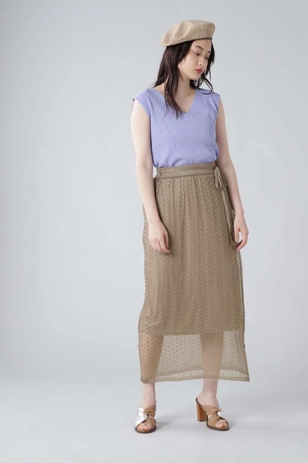 レース編みラメニットスカート