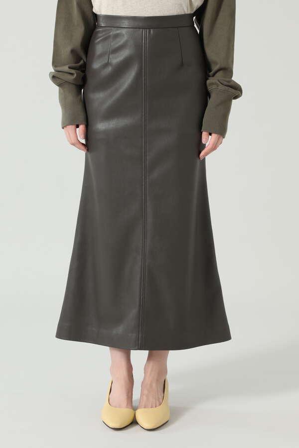 フェイクレザーロングスカート