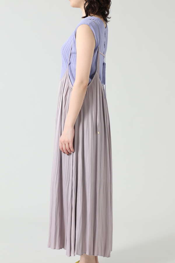 サスペンダー付きプリーツスカート