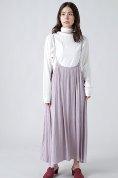 【先行予約 8月下旬-9月上旬入荷予定】サスペンダー付きプリーツスカート