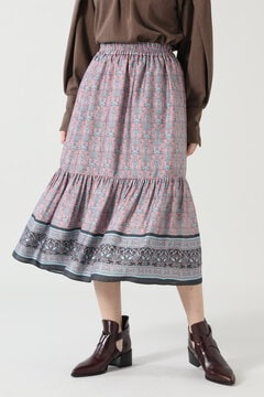 <WEB限定>エスニックモチーフティアードスカート