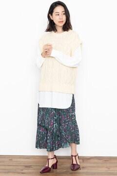 【先行予約 10月中旬-10月下旬入荷予定】<WEB限定>フラワーモチーフアシメトリースカート