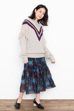 【先行予約 10月中旬-10月下旬入荷予定】<WEB限定>マルチカラーフラワーティアードスカート