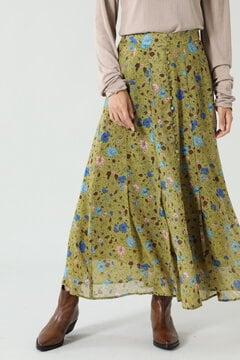 フラワープリントタックフレアスカート