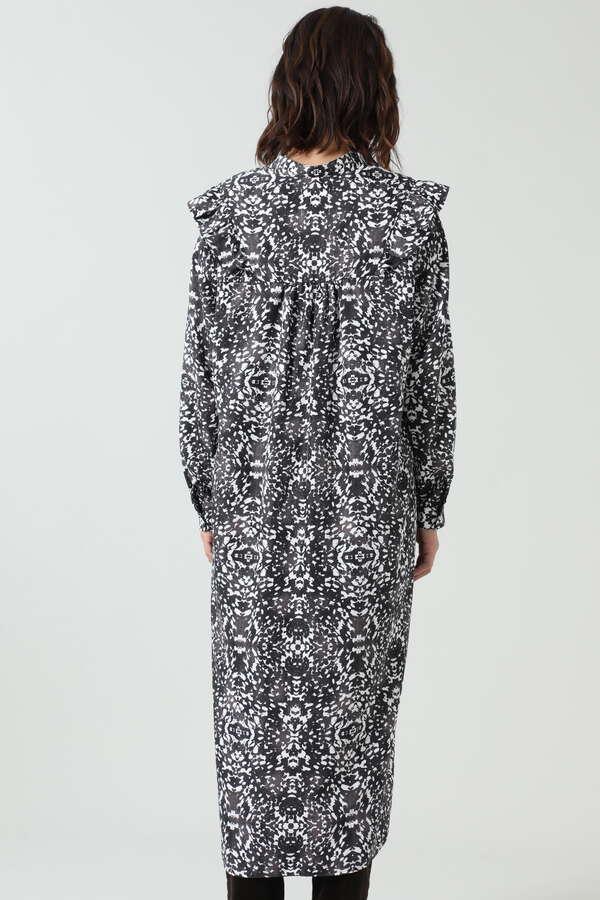 グラフィックプリントフリルシャツドレス