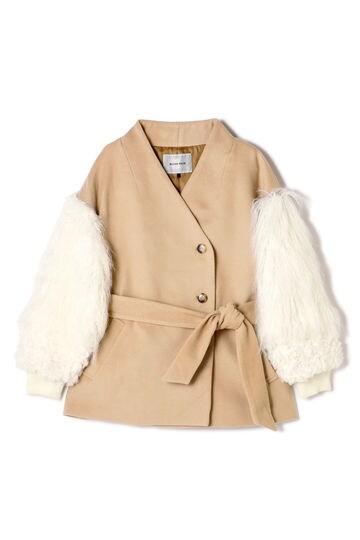 袖ファージャケットコート