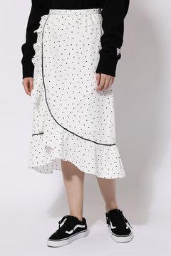 ラッフルフリルラップドットスカート