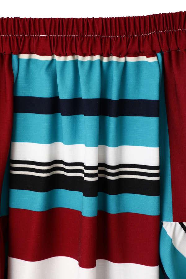 ボーダータックギャザースカート