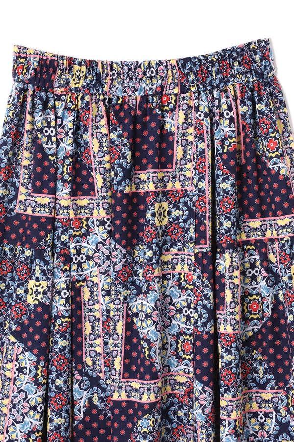 パッチワークフラワープリントスカート