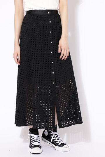ボタンメッシュロングスカート