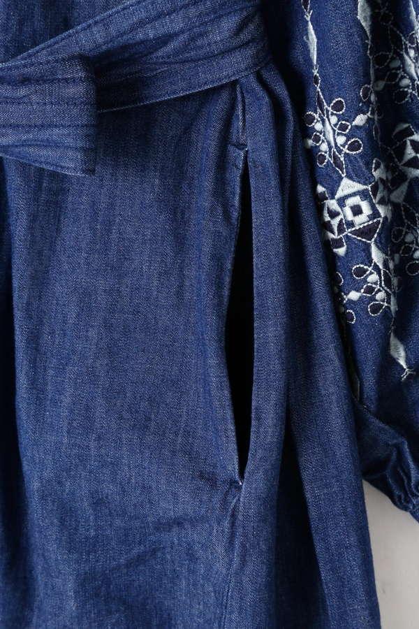 刺繍ボリュームスリーブワンピース