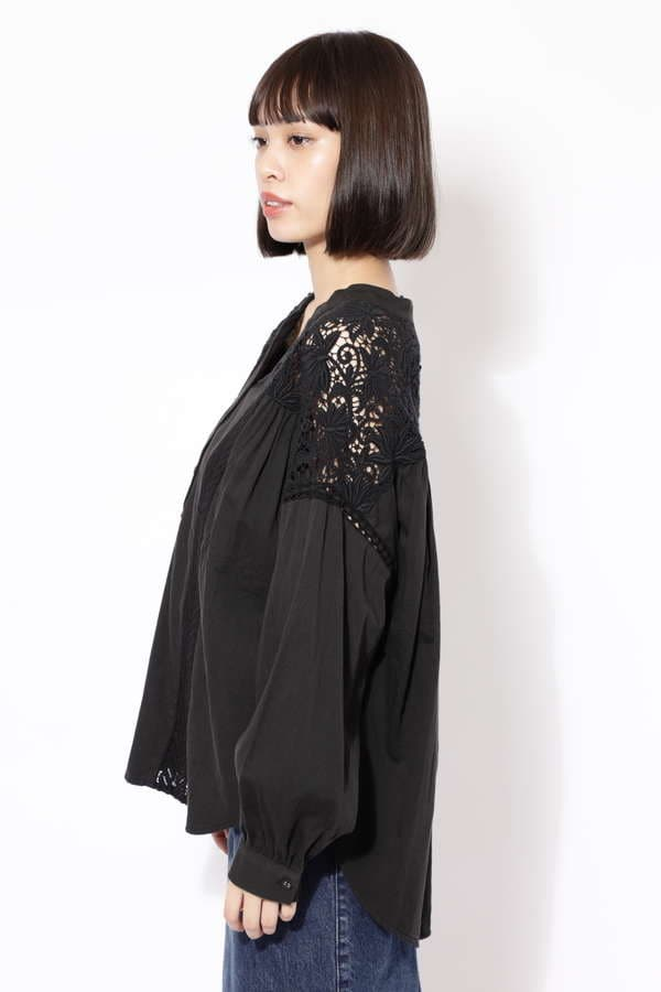 BIG SLEEVE LACE YOKE BLOUSE