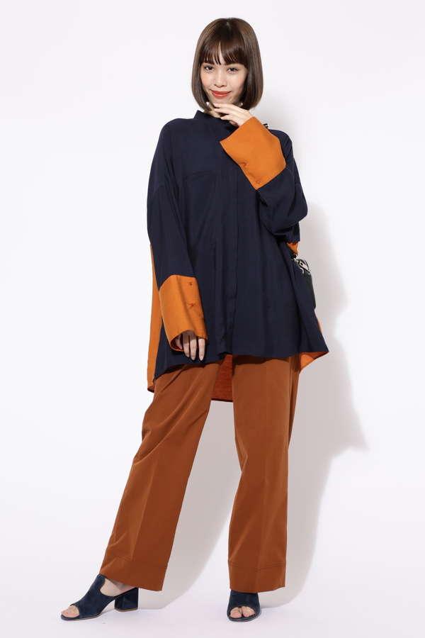 オーバーサイズスタンドカラーシャツ