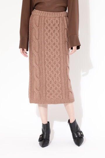 【先行予約 10月中旬-下旬入荷予定】ケーブル編みスカート