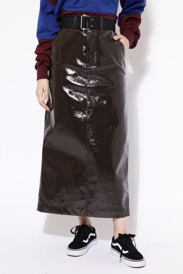 【先行予約 10月下旬-11月上旬入荷予定】フェイクパテントレザースカート