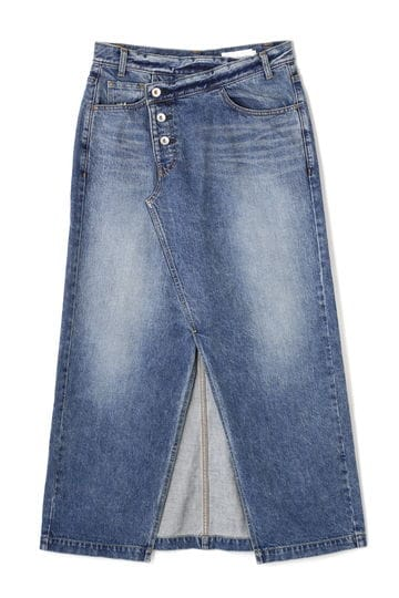CROSS WAIST LONG DENIM SKIRT