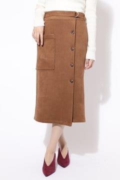 フロントボタンスウェードスカート
