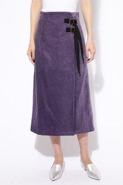 コーデュロイ巻き風タイトスカート