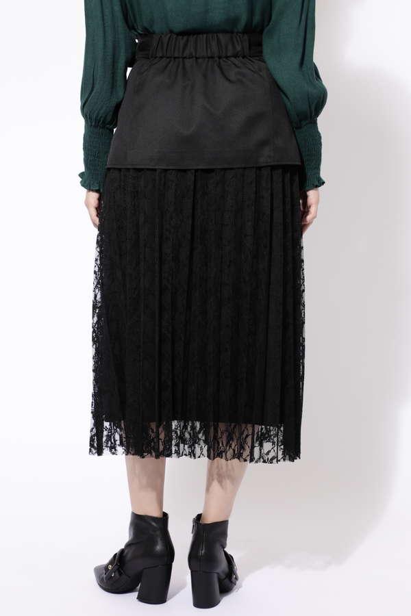 ぺプラムベルト付レーススカート