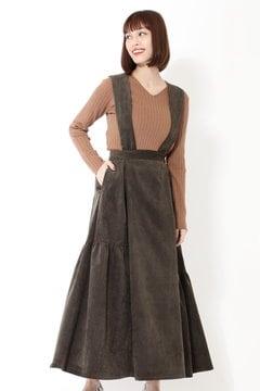 サスペンダーコーデュロイスカート