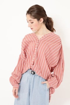 STRIPE NO COLLAR SHIRTS