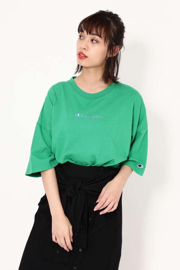 【ROSE BUD別注】Championロゴ刺繍Tシャツ