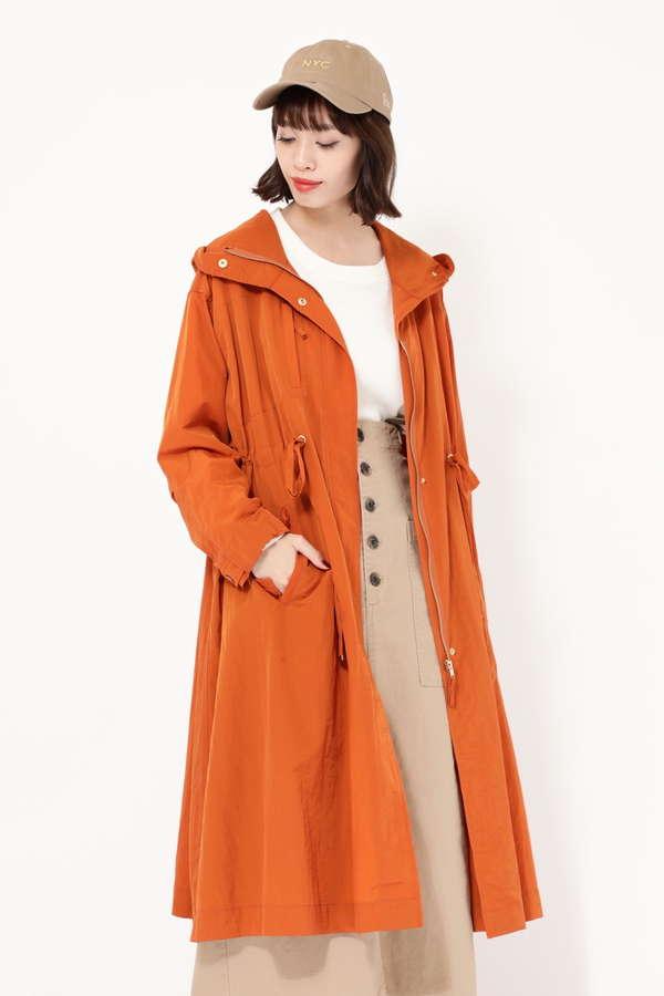 フード付きロングカラーコート