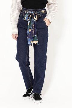 【先行予約 1月中旬-下旬入荷予定】スカーフ付きデニムパンツ