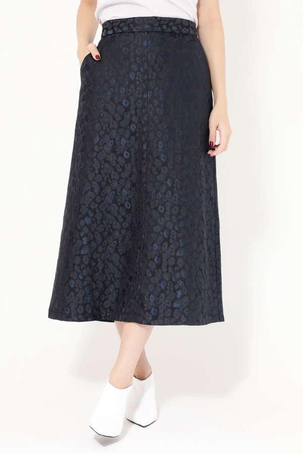 レオパード柄トラペーズスカート