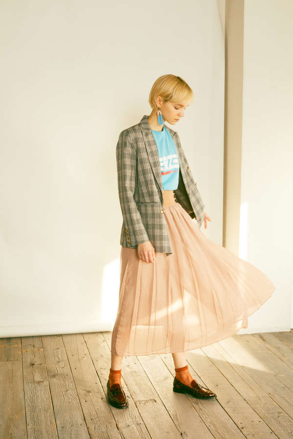シアーチェックカラースカート