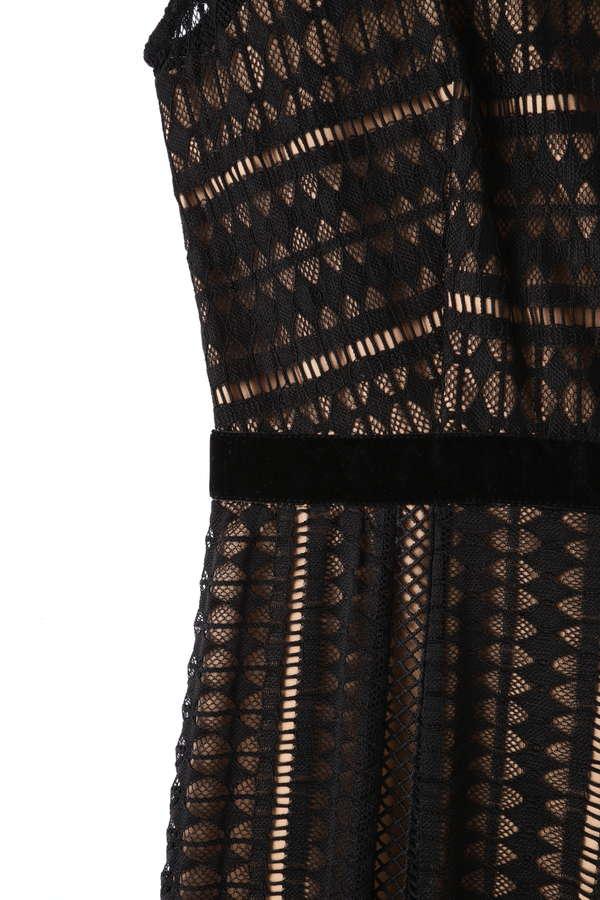 幾何レースノースリーブドレス